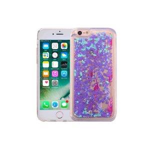 iPhone 6S Bewegend Glitter Hoesje Veertjes Paars