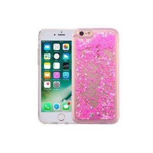 iPhone 6/6S Bewegend Glitter Hoesje Hartjes Roze