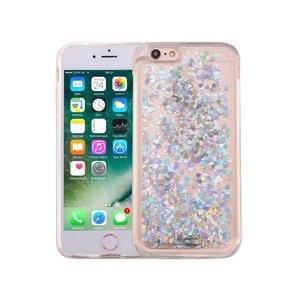 iPhone 6S Bewegend Glitter Hoesje Hartjes Zilver