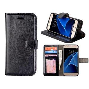 Samsung Galaxy S7 Bookcase Hoesje Zwart met siliconen case