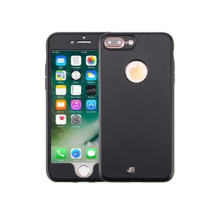 iPhone 7 Plus Hoesje 360 Siliconen Logo Zwart