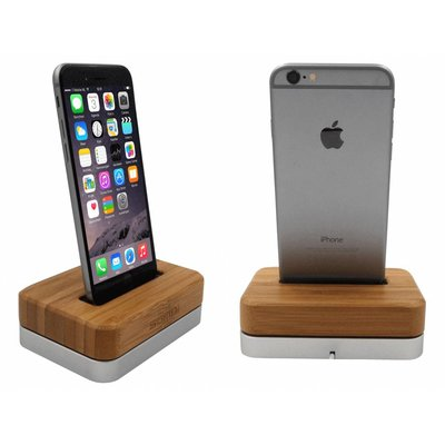 iPhone Docking Station Licht Hout Bamboe Zilver