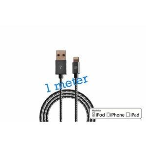 Gevlochten Lightning Kabel 1 Meter MFI Zwart