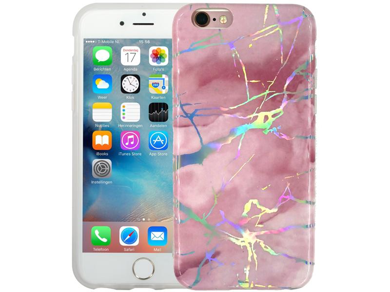 Marmer iPhone 6/6S Hoesje Hologram Roze