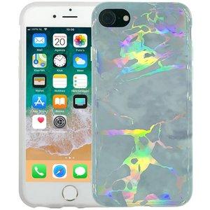 Marmer iPhone 8/7 Hoesje Marble Hologram Grijs