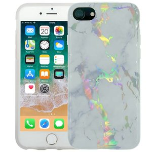 Marmer iPhone 8/7 Hoesje Marble Hologram Wit
