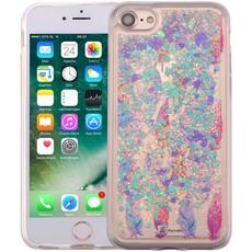 iPhone 8/7 Bewegend Glitter Hoesje Veertjes Paars
