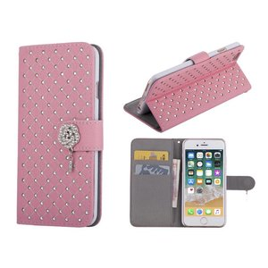 iPhone 8/7 Bookcase Diamantjes Roos Roze
