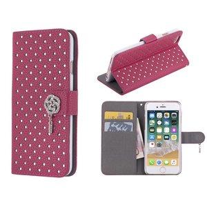 iPhone 8/7 Bookcase Diamantjes Roos Diep Roze