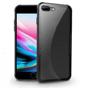 iPhone 8/7 Siliconen Case Glas Achter Zwart
