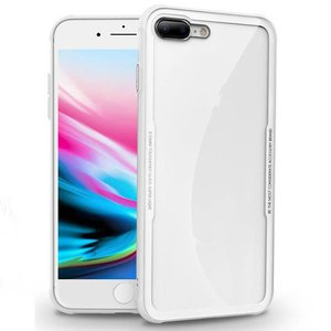 iPhone 8/7 Siliconen Case Glas Achter Wit