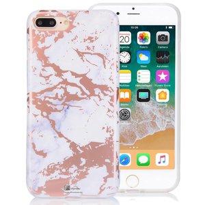 Wit Marmer iPhone 8/7 Hoesje Rose Goud