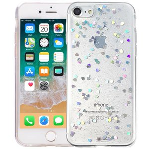 iPhone 6/6S Glitter Hoesje Hartjes Transparant