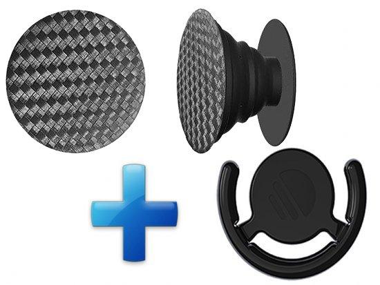 Popsockets Button met Auto houder Zwart Carbon afbeelding