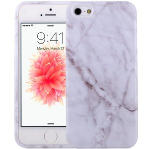 Marmer iPhone SE/5S/5 Hoesje Marble Wit TPU