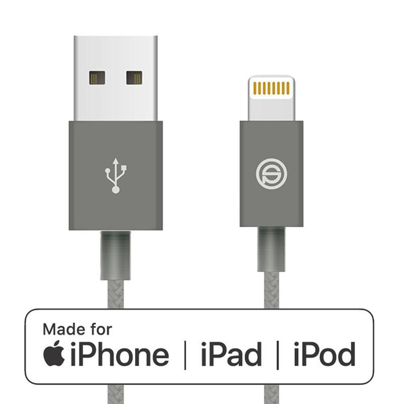 1 meter iPhone MFI lightning kabel Gevlochten Grijs