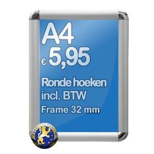 Albyco Kliklijst A4-formaat 21 x 29,7 cm, frame 32 mm, ronde hoeken