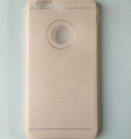 Apple iPhone 6 plus/6s plus flexibele transparante backcover met roze glitters