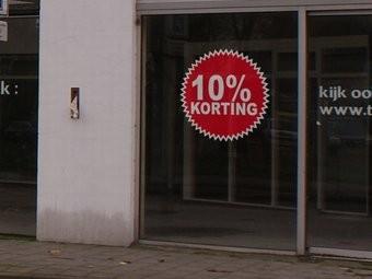 """Runde """"10% korting"""" Sticker auf Niederländisch"""