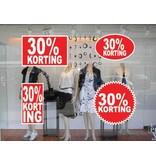"""Set """"30% korting"""" Sticker auf Niederländisch (4 Sticker)"""