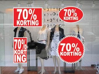 """Set """"70% korting"""" Sticker auf Niederländisch (4 Sticker)"""