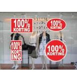 """Set """"100% korting"""" Sticker auf Niederländisch (4 Sticker)"""