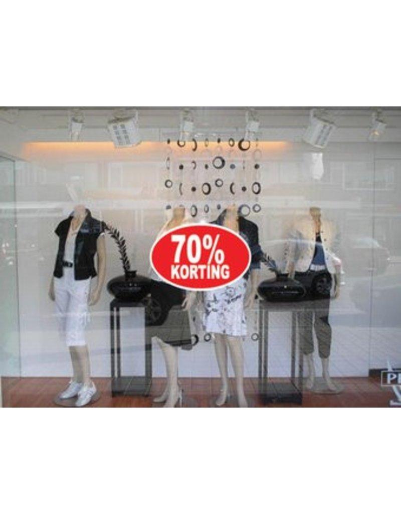 """Ovale """"70% korting"""" Sticker auf Niederländisch"""
