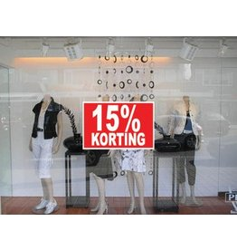 """Rechteckige """"15% korting"""" Sticker auf Niederländisch"""