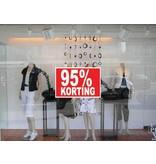 """Rechteckige """"95% korting"""" Sticker auf Niederländisch"""