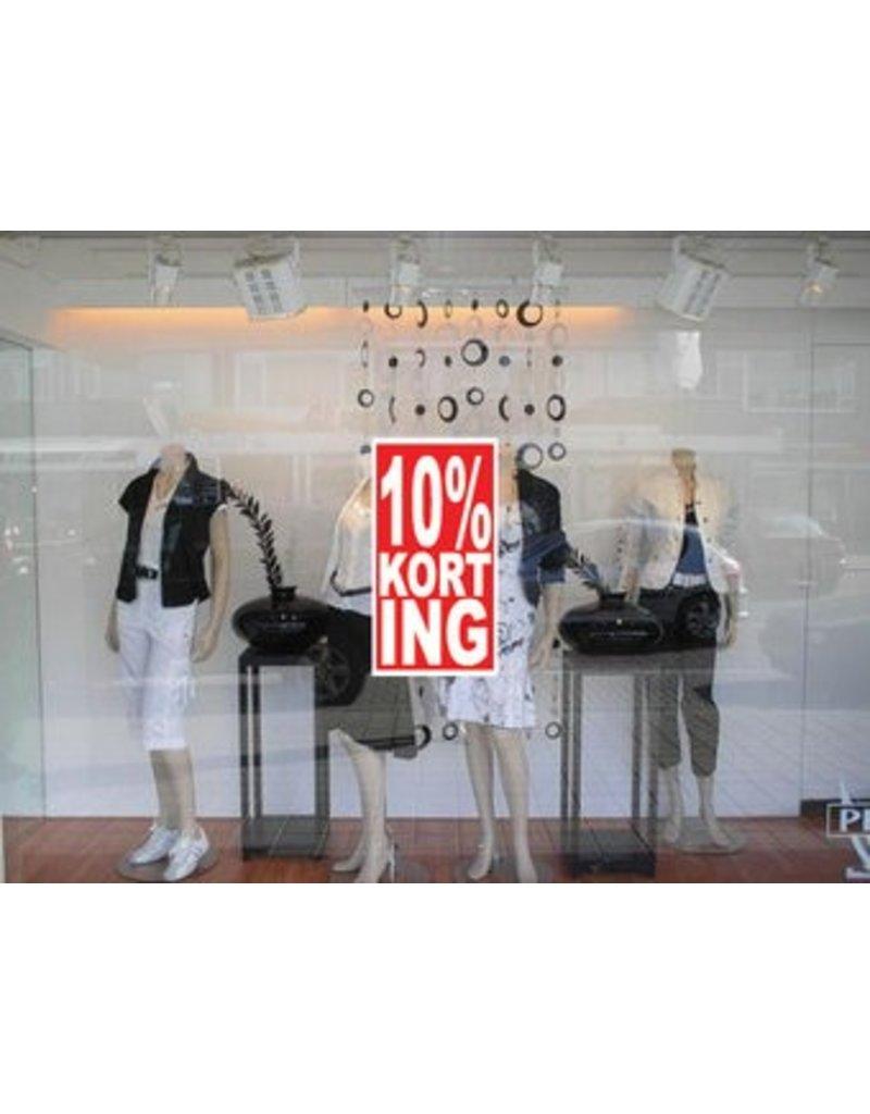 """Rechteckige """"10% korting"""" Sticker auf Niederländisch"""