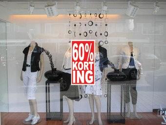 """Rechteckige """"60% korting"""" Sticker auf Niederländisch"""