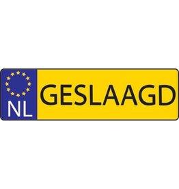 "Banner dutch licence plate ""Geslaagd"""