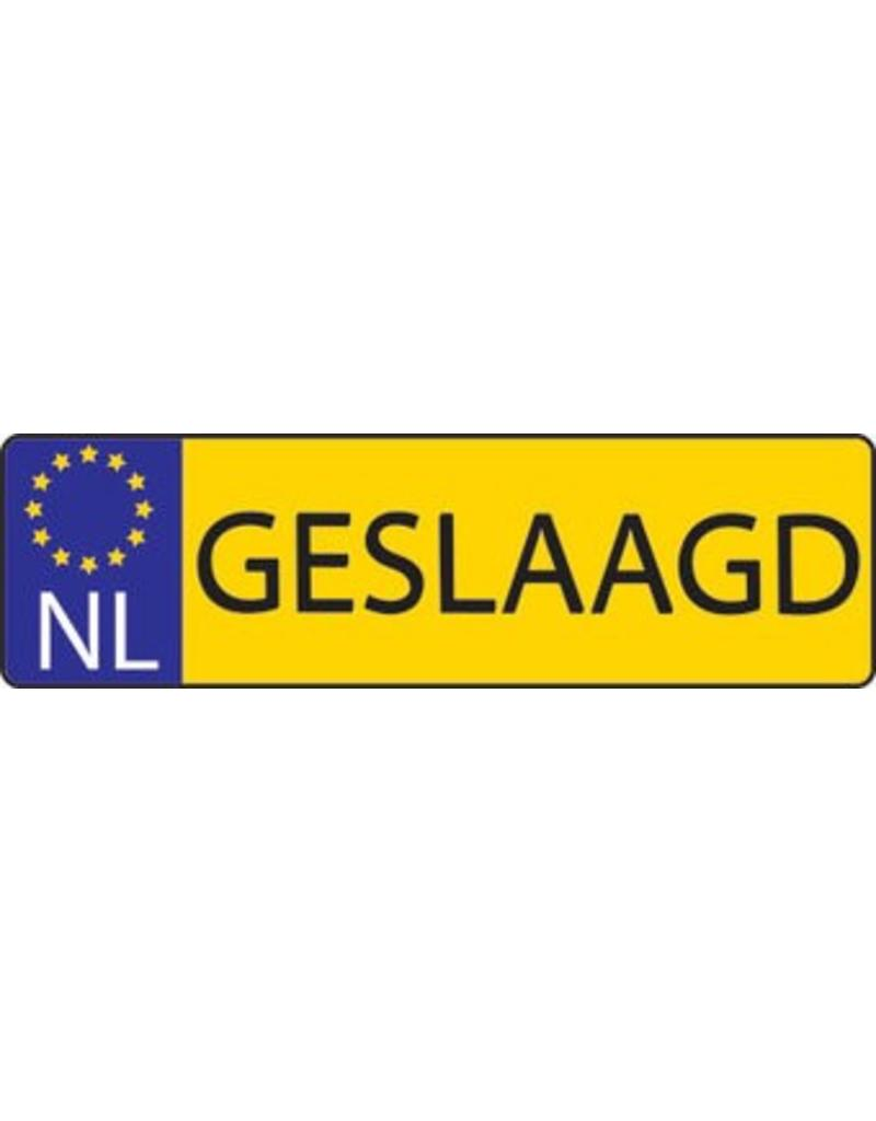 "Banner dutch licence plate ""Geslaagd"""