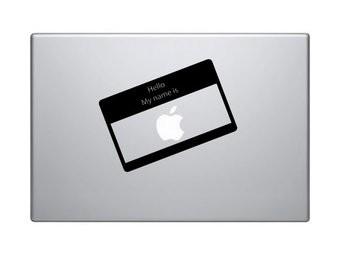"Pegatina Mac ""Hello my name is Apple"""
