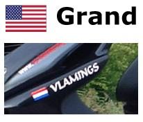 Bandera de Estados Unidos con la vespa nombre de la etiqueta engomada