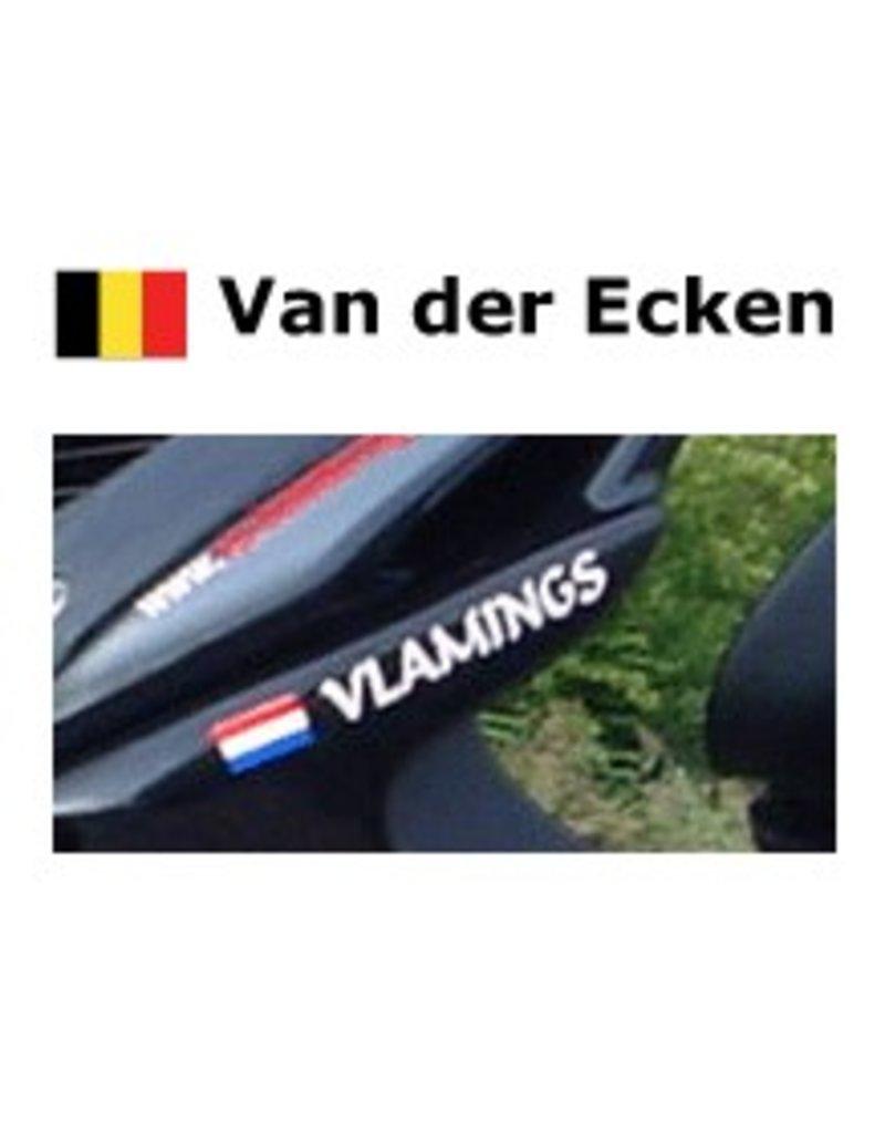 Bandera belga con la vespa nombre de la etiqueta engomada