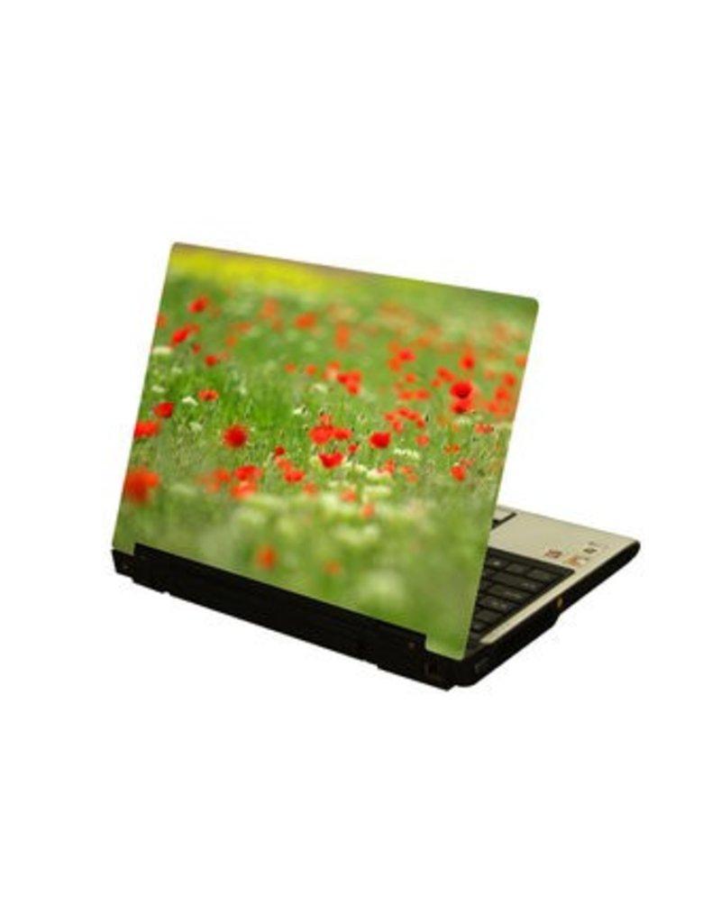 Rode bloemetjes laptop Sticker