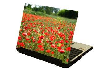 Roja flors ordenador portátil pegatina 1