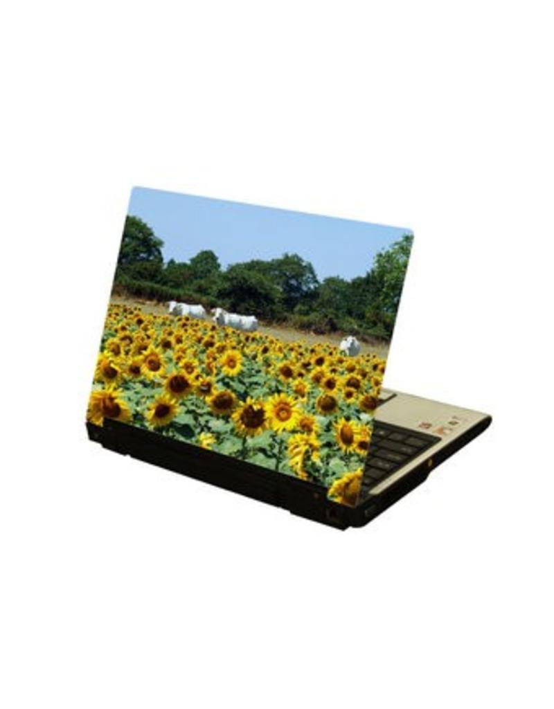 Sonnenblume und Kuhe Laptop Sticker