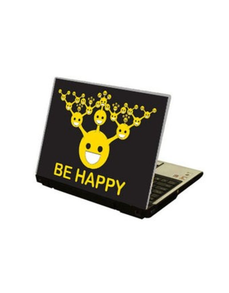 """Autocollant ordinateur portable """"Be happy"""""""