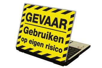 """""""Gevaar"""" Text NL Laptop Sticker"""