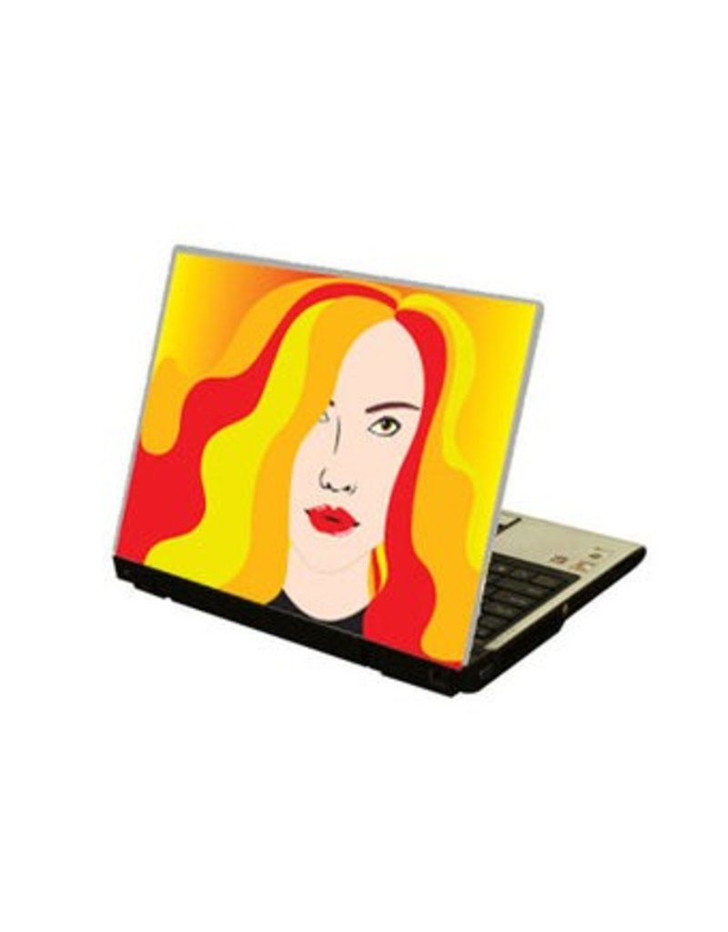 Cheveux colorés autocollant ordinateur portable