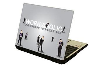 Bourreau de travail autocollant laptop
