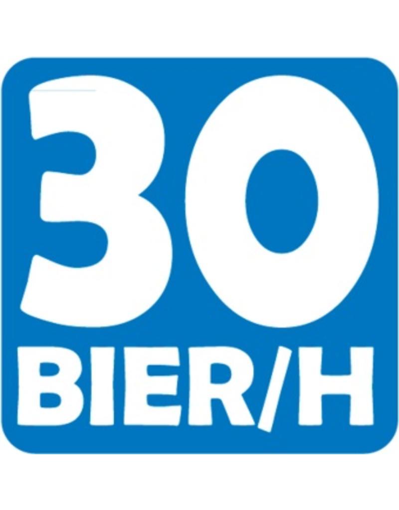 "Car sticker ""30 bier per uur"""