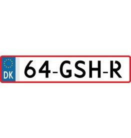 Autocollant plaque d'immatriculation danoise