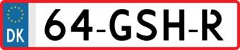 Denemark license Plate