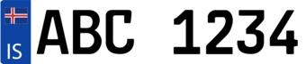 Pegatina placa de matrícula islandesa