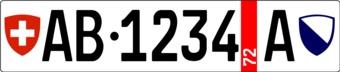 Pegatina placa de matrícula suiza