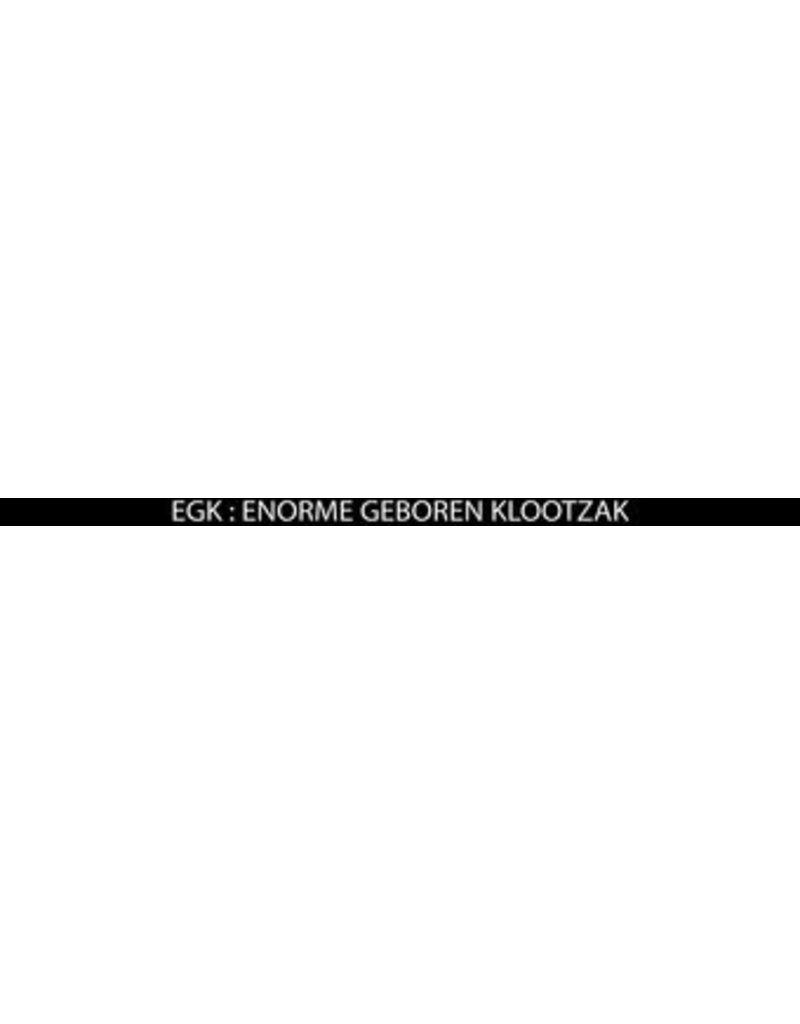 "Number plate sticker: ""EGK = enorme geboren klootzak"""