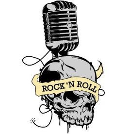 Old-school skull with mic